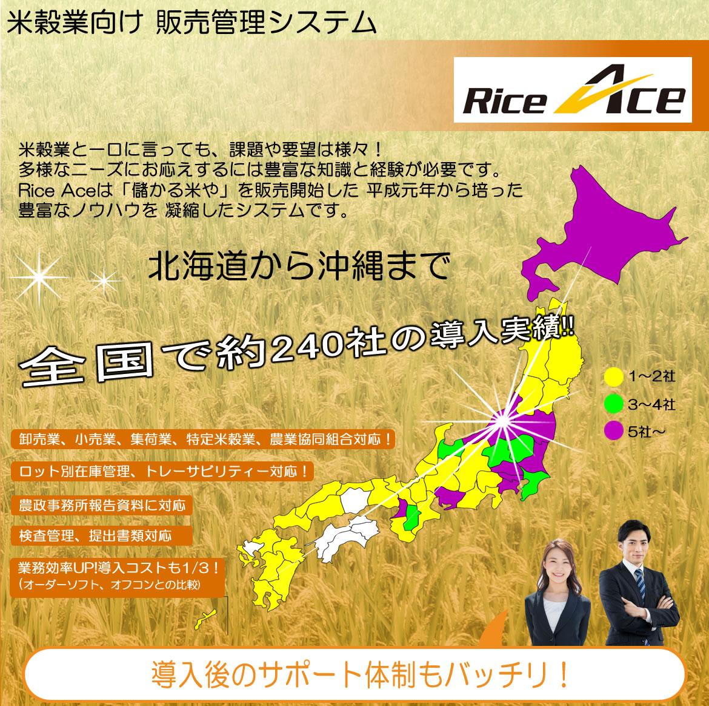 システムエース米穀業向け 販売管理システムRice Ace 米穀業と一口に言っても、課題や要望は様々! 多様なニーズにお応えするには豊富な知識と経験が必要です。 Rice Aceは「儲かる米や」を販売開始した 平成元年から培った豊富なノウハウを 凝縮したシステムです。北海道から鹿児島まで全国で約230社の導入実績!!卸売業、小売業、集荷業、特定米穀業、農業協同組合対応!ロット別在庫管理、トレーサビリティー対応!農政事務所報告資料に対応 検査管理、提出書類対応 業務効率UP!導入コストも1/3!(オーダーソフト、オフコンとの比較) 導入後のサポート体制もバッチリ!